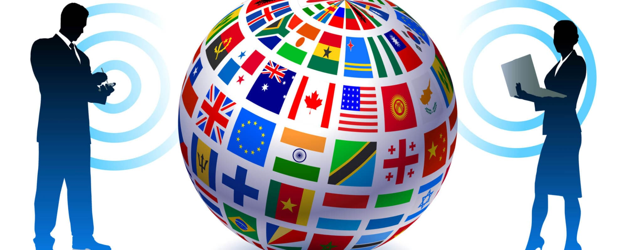 vector image of a globe surrounded by country flags